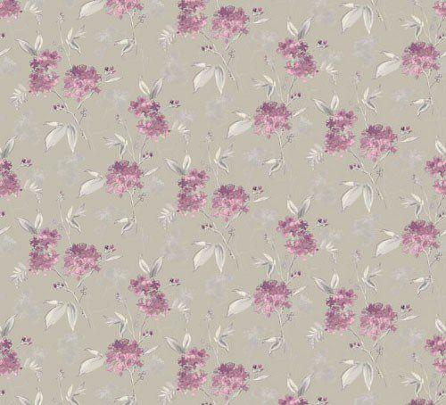 Papel de Parede Floral Bege e Lilás