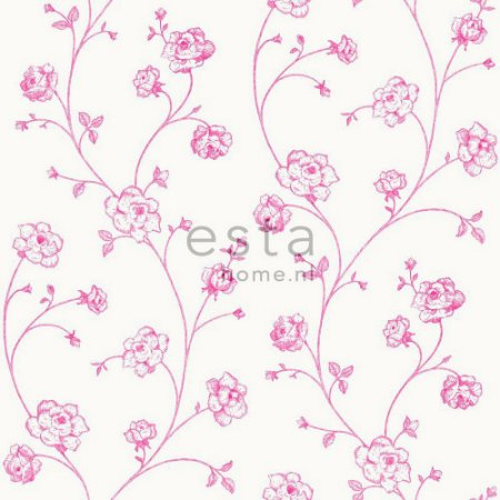 Papel de Parede Floral Bege / Rosa