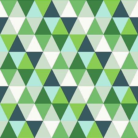 Papel de Parede Triângulos Verde e Azul
