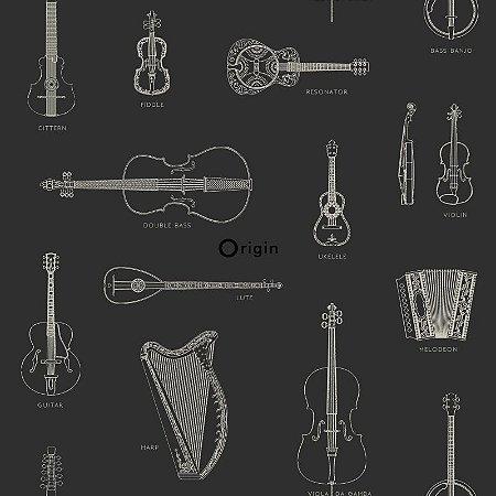 Papel de Parede Instrumento Musical Preto