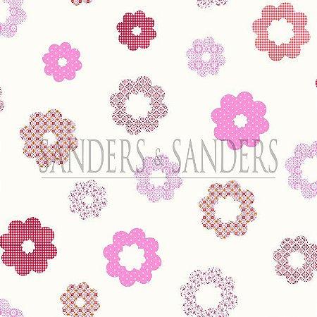 Papel de Parede Infantil Flores Rosa, Vermelho e Branco