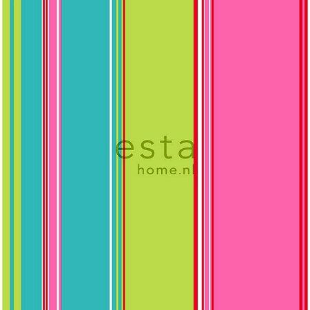 Papel de Parede Listrado Rosa / Verde / Azul