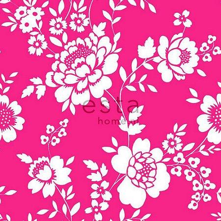 Papel de Parede Floral Rosa / Branco