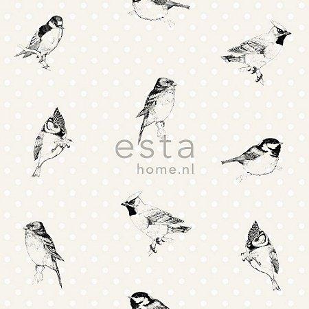 Papel de Parede Branco com Pássaros Pretos