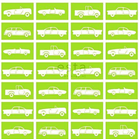 Papel de Parede Infantil de Carros Verde / Branco