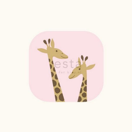 Papel de Parede Infantil de Girafas Rosa / Branco
