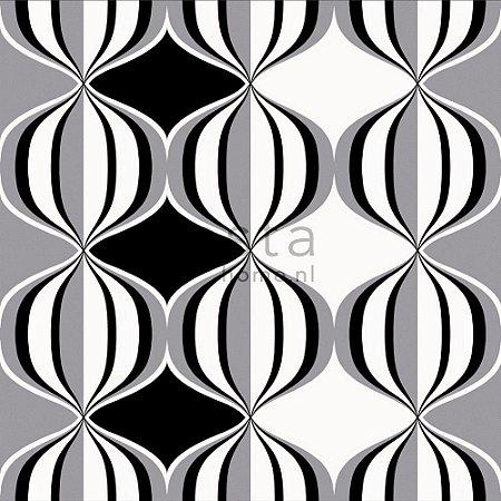 Papel de Parede Geométrico Preto / Branco / Cinza