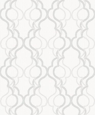 Papel de Parede Branco com Geométrico Cinza
