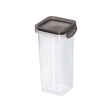 Porta Mantimentos Hermético Trava Mais Cristal Preto 1,2Lts