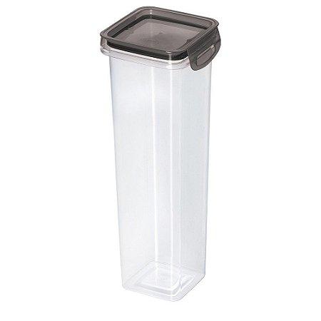 Porta Mantimentos Hermético Trava Mais Cristal Preto 1,6Lts