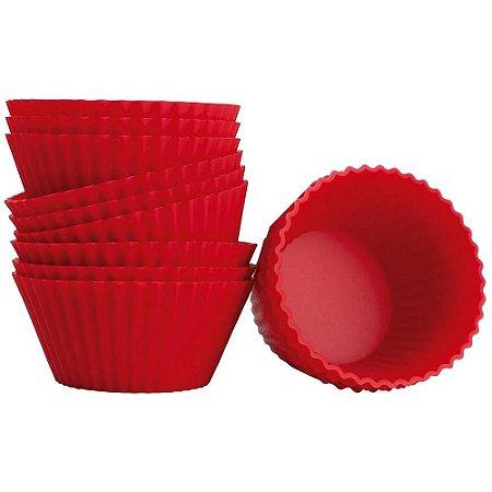 Forma de Cupcake e Muffin Mor 8511 Silicone Vermelha 12 UN