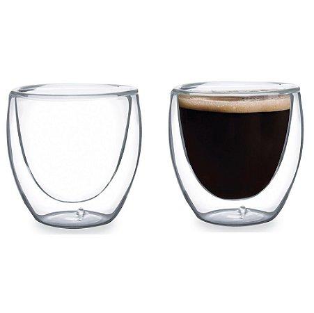 Dupla de Copos para Café Borossilicato 80ml Mimo Style 6138