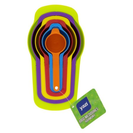Kit 6 Xicara Colher Medidores Culinária Colorido Encaixável
