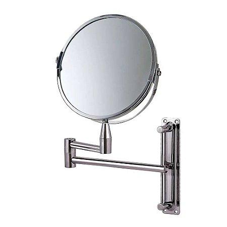 Espelho Articulado de Aumento 2x Dupla Face Giratório Parede