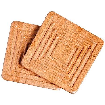 2 Descanso Apoio de Panela de Bamboo Bambu Super Eficiente