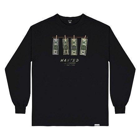 Camiseta wanted – manga longa dollar