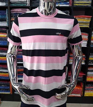 Camisa listrada lost beach rosa