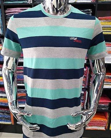 Camisa listrada lost beach verde