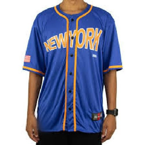 Camisa baseball prison orange new york azul