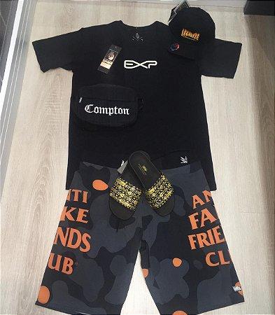 kit camisa +bermuda + chinelo slide + shoulder bag  + bone