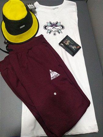 kit camisa + calça moletom + bucket ( carteira gratis )