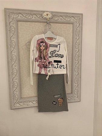 Conjunto Pituchinhus Blusa Cotton Nozinho Boneca e Saia Midi Canelada Patches