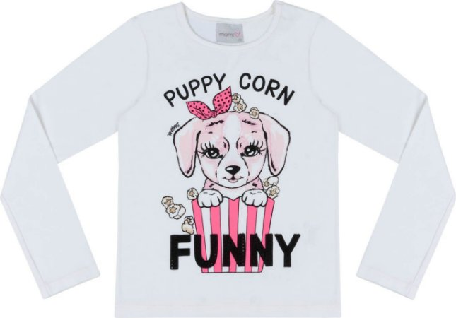 Blusa Momi Ml Dog Pipoca