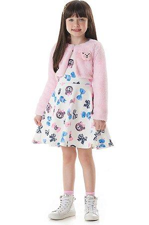 Vestido Kukiê em Jacquard e Bolero em Pelo Rosa