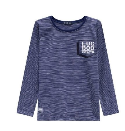 Camiseta Luc.Boo Manga Longa em Malha Mesclada Azul