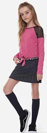 Conjunto Vic&Vicky Blusa Boxy em Cotton e Shorts Saia em Molecotton