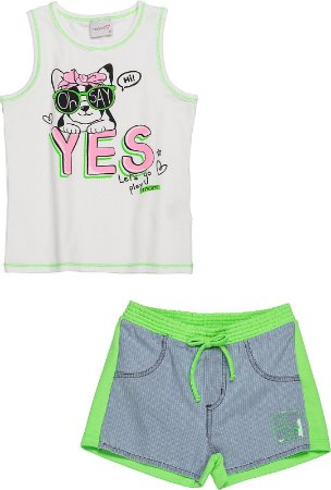 Conjunto MOMI Regata Cotton Yes e Short Verde Neon
