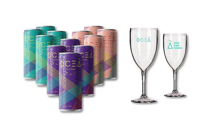 Oceà Pack Premium: 269mL 12 latas mistas + 2 taças - R$13,90/unid