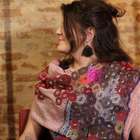 Lenço de Algodão Florido Rosa Myriam Aguiar