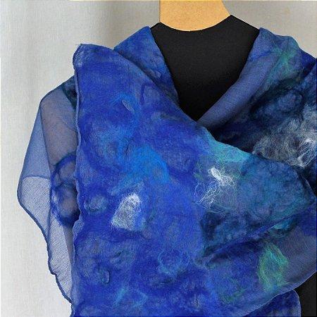 Lenço De Algodão Azul Royal Myriam Aguiar