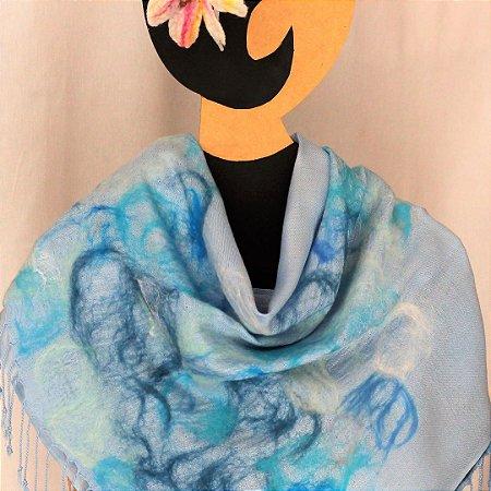 Pashimina Indiada De Viscose Azul Claro Myriam Aguiar