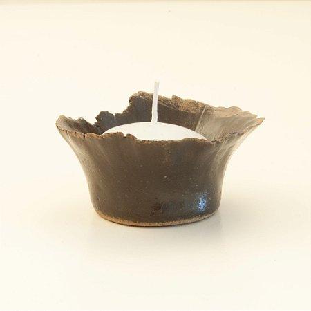 Castiçal Mini Marrom – Coleção Mesa Rústica Sandra Oli Cerâmica