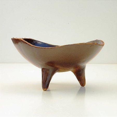 Fruteira De 3 Pés Marrom – Coleção Mesa Rústica Sandra Oli Cerâmica