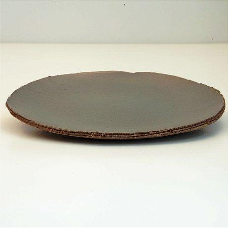 Prato Raso Médio Marrom Claro Esverdeado – Coleção Mesa Rústica Sandra Oli Cerâmica