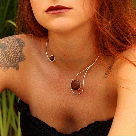 Gargantilha Jupiter com Madeira Jacarandá - Mônica Bacci
