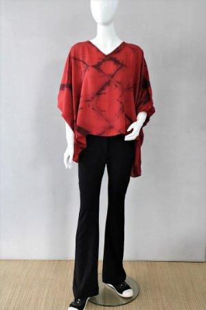 Blusa Decote V Vermelha Seda Pintada Helena Ratto