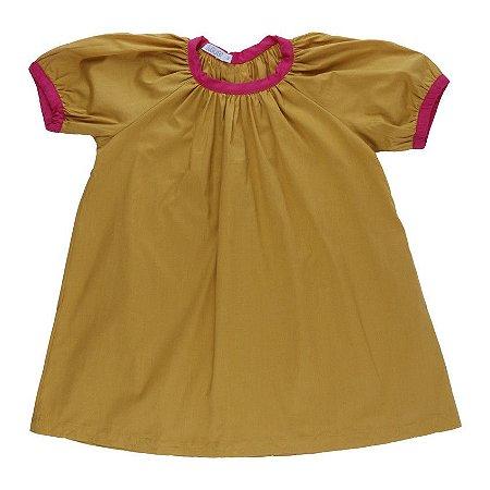 Vestido Alegria Mostarda com detalhe pink - BaGuBi