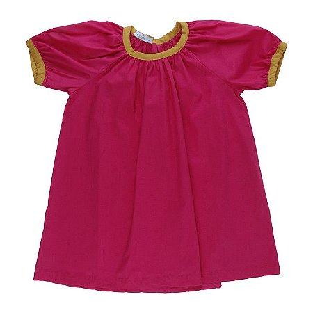 Vestido Alegria Pink com detalhe mostarda - BaGuBi
