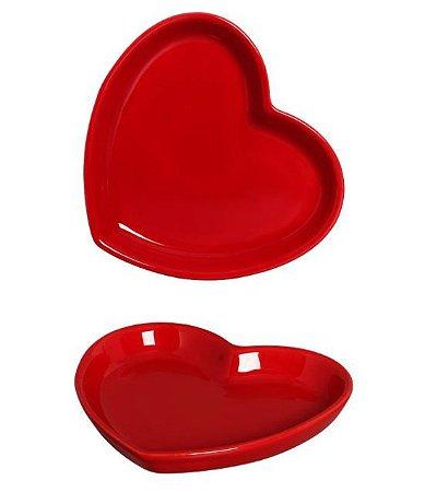 Prato Básico Coração Red - P