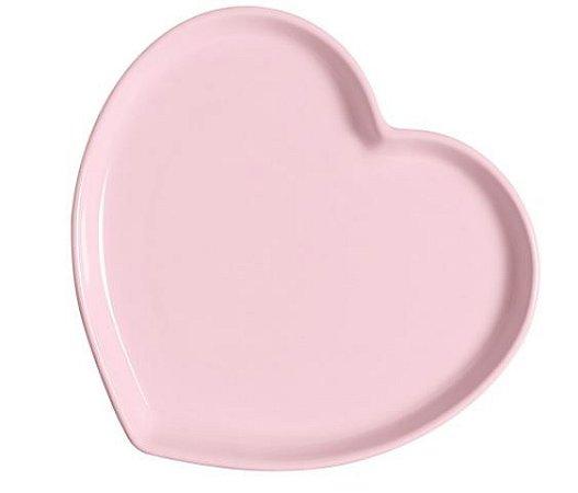Prato Básico Coração Rosa - G
