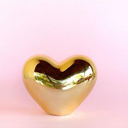 Coração Cerâmica Dourado