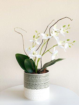 Vaso Cerâmica Colors com Planta