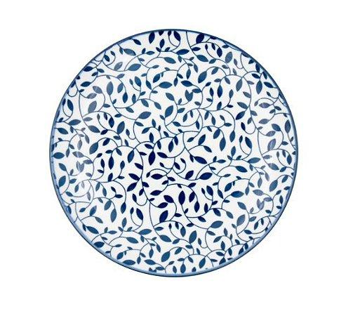 Prato Porcelana Floral - Azul