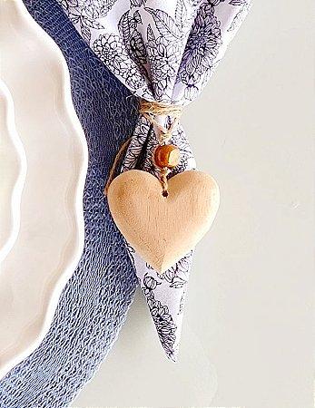 Pingente Coração Madeira - 6 cm