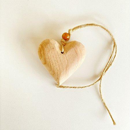 Pingente Coração Madeira - 8 cm