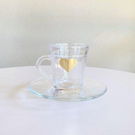 Xícara de Café + Pires  Coração Gold